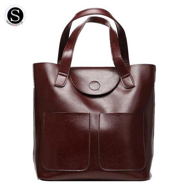 Senkey Style Genuine Leather Bags Handbags Women Famous Brands Luxury Designer 2017 Shoulder Bags For Women Messenger Retro