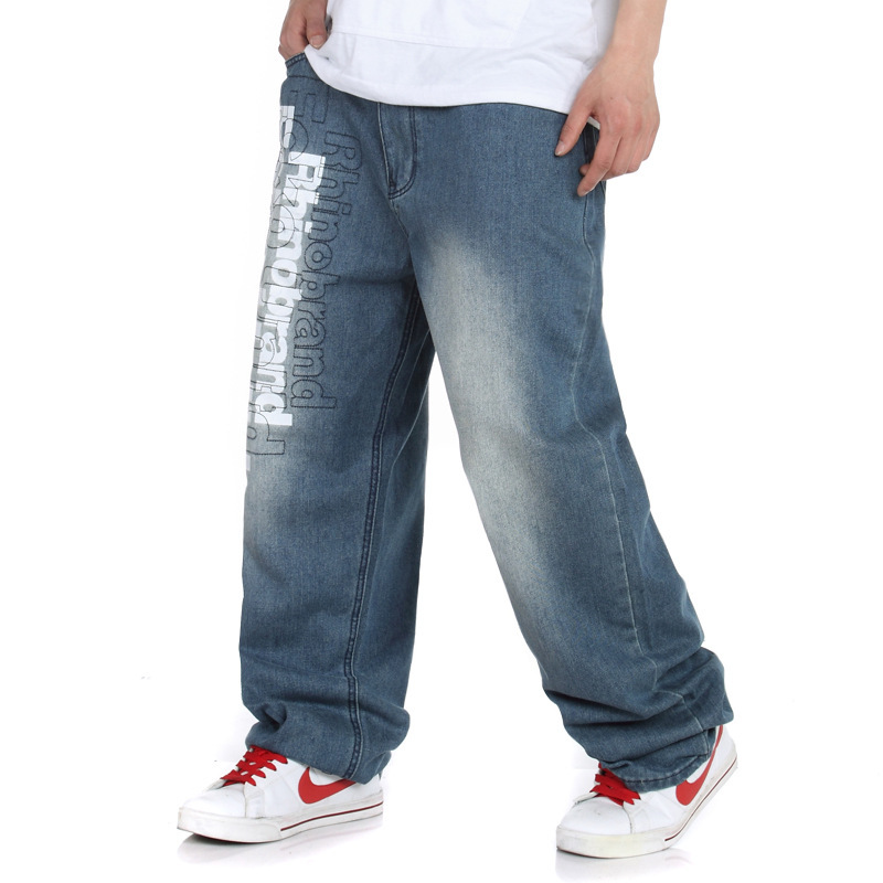 ФОТО new summer fashion casual mens large size Cotton brand hip hop  high waisted blue jeans size 30-42