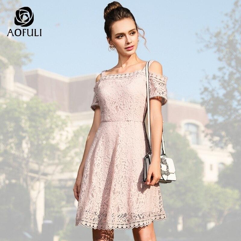 AOFULI Sexy Women Off Shoulder Dress Plus Size Pink Summer Dress Lace Big  Size Short Sleeve c2978e0a82ba