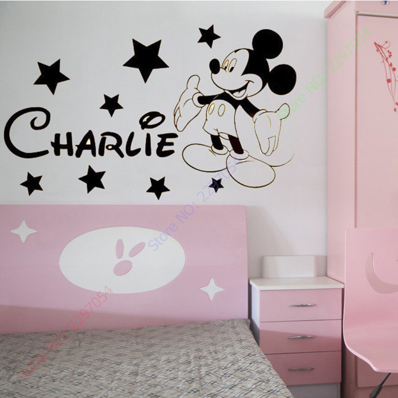 MICKEY Mouse Wall Stickers For Kids Rooms Custom Name Removable ...