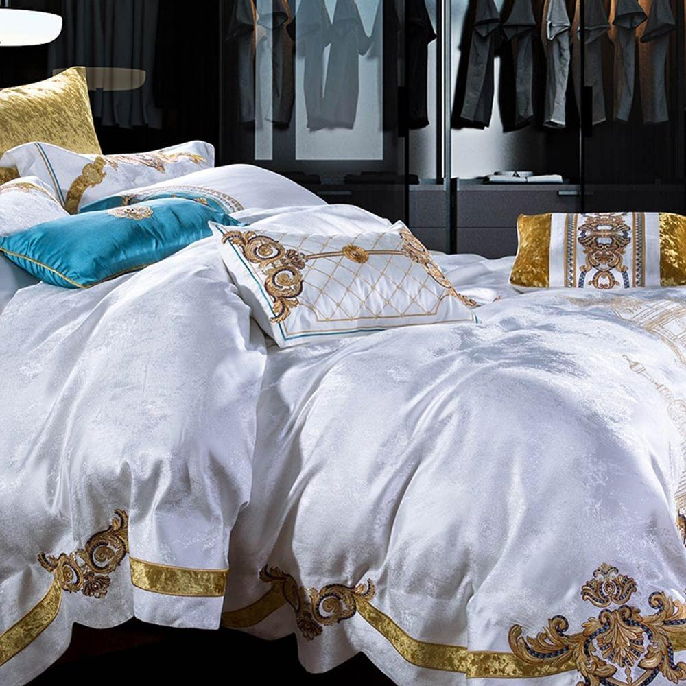 Image 5 - Svetanya white Brocade Bedding Set king queen double size Bedlinen-in Bedding Sets from Home & Garden