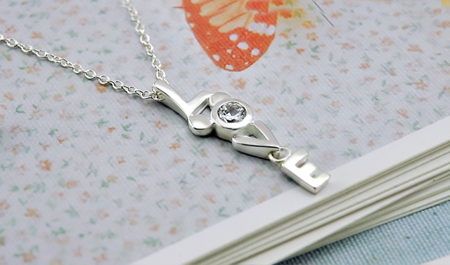 Valentine's day birthday present LOVE Necklace 100% 925 Sterling Silver Simple Pendant Chocker Fashiont Woman Silver Jewelry 4