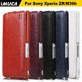 iMUCA Brand Luxury Flip Genuine Leather Case For Sony Xperia ZR M36h Vertical Flip Phone Cases For Sony Xperia ZR C5502 C5503