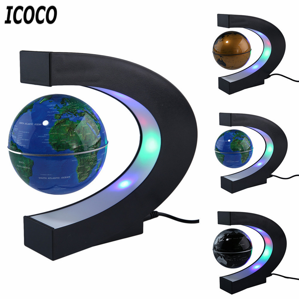 Lampe à antigravité électronique, carte du mon à levage magnétique Globe flottant maison nouveauté lumière de la boule décoration d'anniversaire