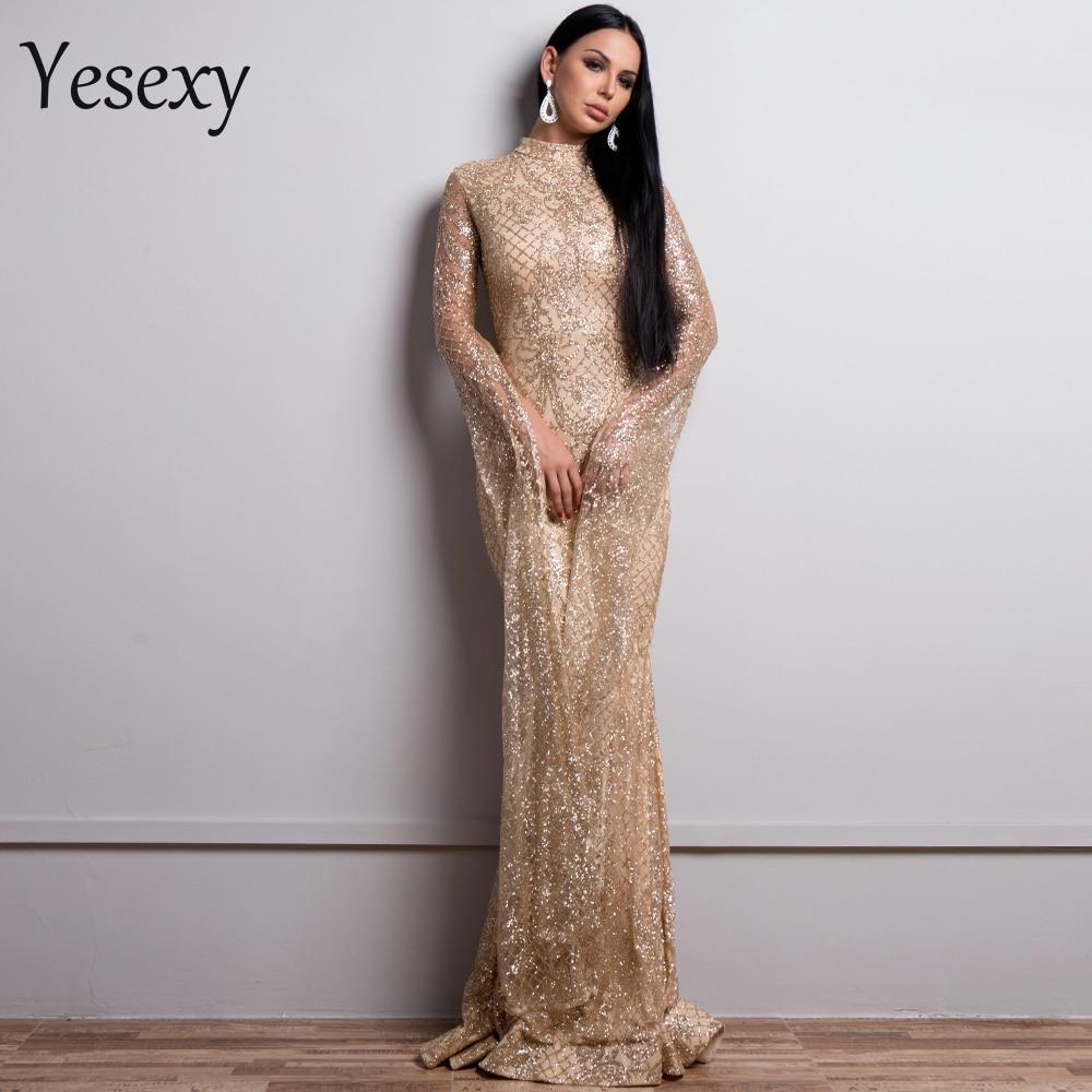 Yesexy 2019 Women Sexy High Neck Long Sleeve Split Glitter Dresses Female Maxi Elegant Party Dress