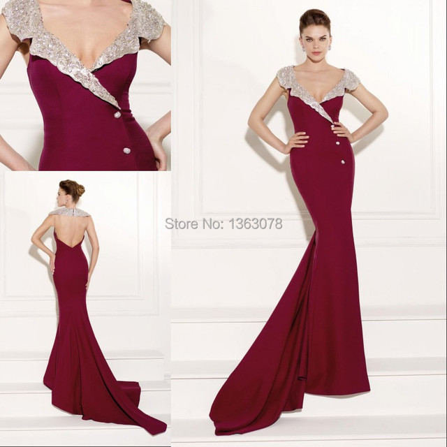 Top Design Custom Made V Neckline Open Back Beading Crystal Hourgl Figure Evening Dresses Imported Party