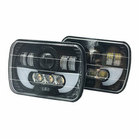 2PCS 5X7 7X6 inch Rectangular Sealed Beam LED Headlight With DRL LED for H6014 H6052 H6054 H6052 LED Headlight