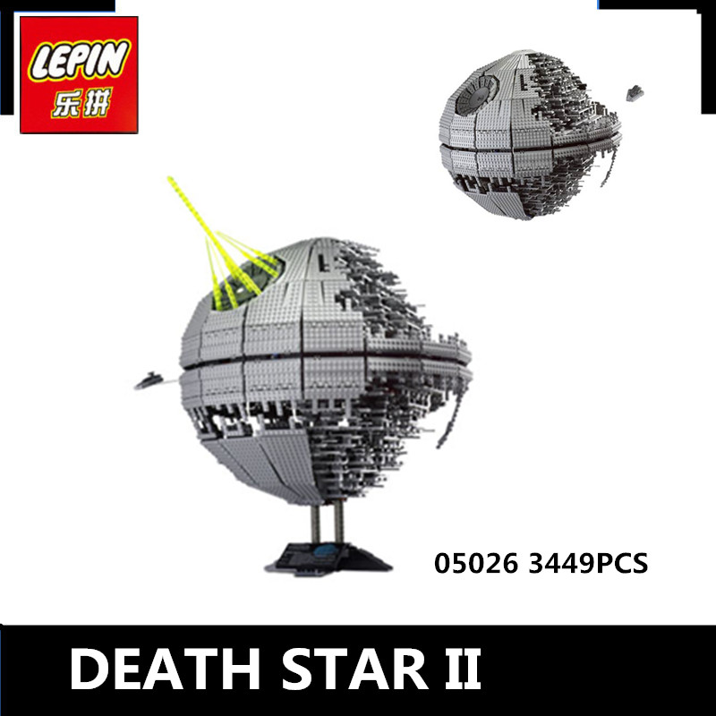 IN STOCK LEPIN 05026 3449Pcs Star Wars Death Star II Model Building Kits Blocks Bricks Compatible Chilsren Toys Gift With 10143 lepin 22001 pirate ship imperial warships model building block briks toys gift 1717pcs compatible legoed 10210
