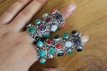 Anillo ajustable de plata tibetana RG330 para mujer, 3 cuentas de colores, hecho a mano, joyería de nepalí e India, anillo de mujer de 12mm de ancho