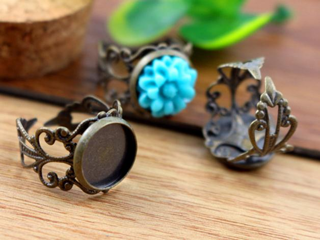 12mm 10pcs Antique Bronze Plated Brass Adjustable Ring Settings Blank/Base,Fit 12mm Glass Cabochons,Buttons;Ring Bezels -J2-08