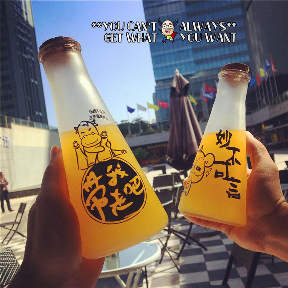 Creative Scrub Cartoon Glass Water Bottles Fashion Cone Cork Drinkware Personality Male female Portable Water Bottle
