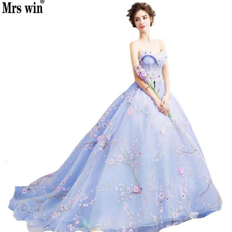 Party Dress 2018 New Style Blue Crystal Flowers Evening Dress Strapless Court Train Ball Gown Evening Gowns Robe De Soiree