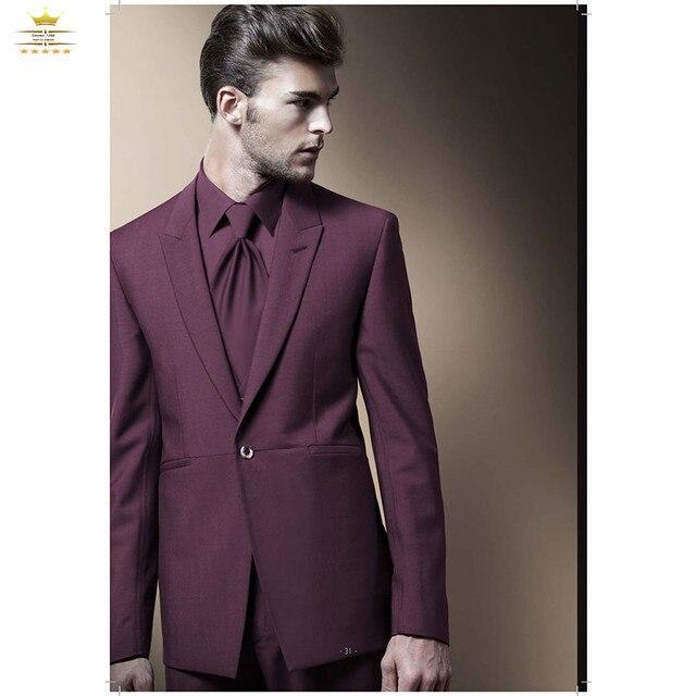 online para la venta discapacidades estructurales apariencia elegante € 113.65  Vino tinto para hombre trajes de boda novios entallada vestido de  traje de solapa de pico un botón de la chaqueta + Pants + Tie mzta00124 en  ...