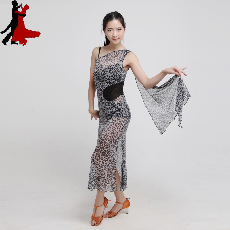 sexy halter gray leopard Latin dance practice wear performance clothing dress women freeshipping hot sale