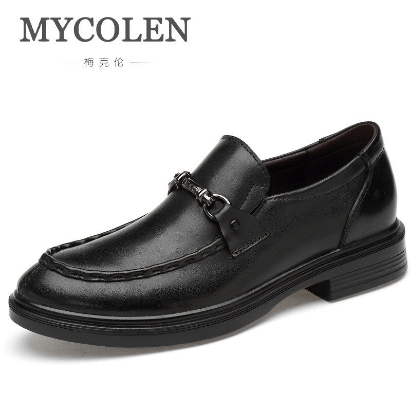 MYCOLEN Men Genuine Leather Casual Shoes Spring/Autumn Fashion Flats Round Toe Loafers Slip On Man Driving Sneakers Brand mycolen brand new fashion autumn spring men driving shoes loafers leather boat shoes breathable male casual flats loafers
