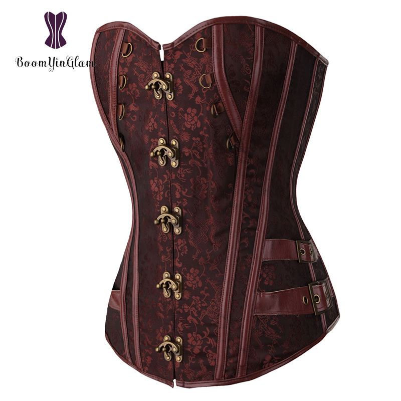Waist Trainer Brocade Steampunk Jacquard Faux Leather Studded Overbust Brown Corset Bustier With Chains S-6XL 916#