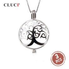CLUCI 3 sztuk okrągły srebrny drzewo życia kobiety wisiorek dla naszyjnik tworzenia biżuterii 925 perła z polerowanego srebra wisiorek biżuteria SC303SB