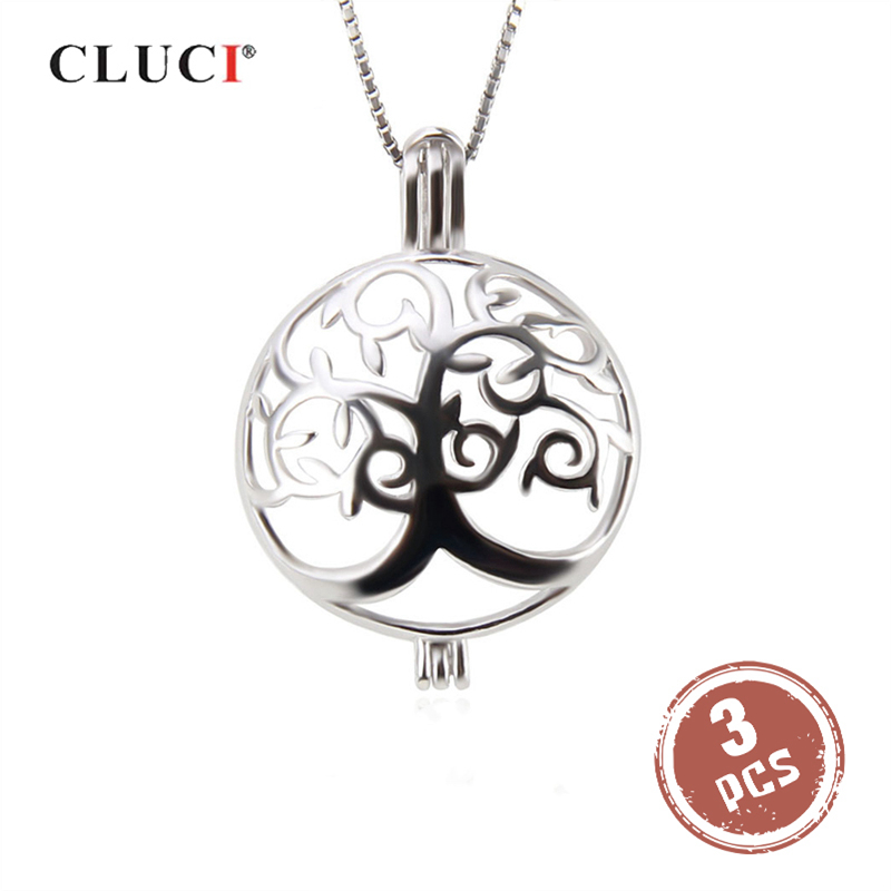 CLUCI 3pcs Round Silver Life Tree Women Pendant For Necklace Jewelry Making 925 Sterling Silver Pearl Pendant Locket Jewelry