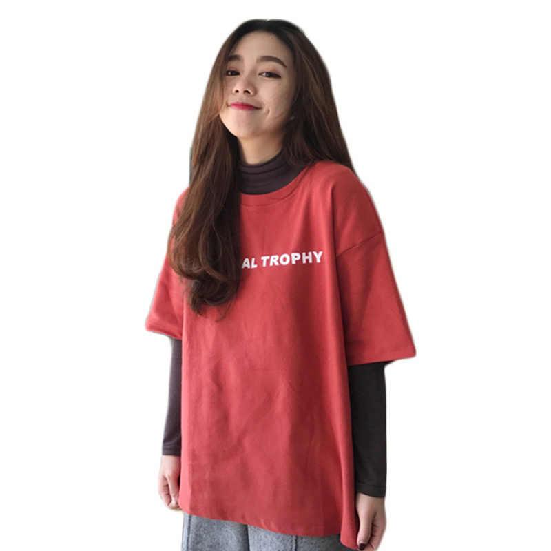 جديد ربيع المرأة الكورية ulzzang قصيرة الأكمام النساء قميص الإناث فضفاضة سميكة القسم تأخذ المد المرأة الكبس shirt