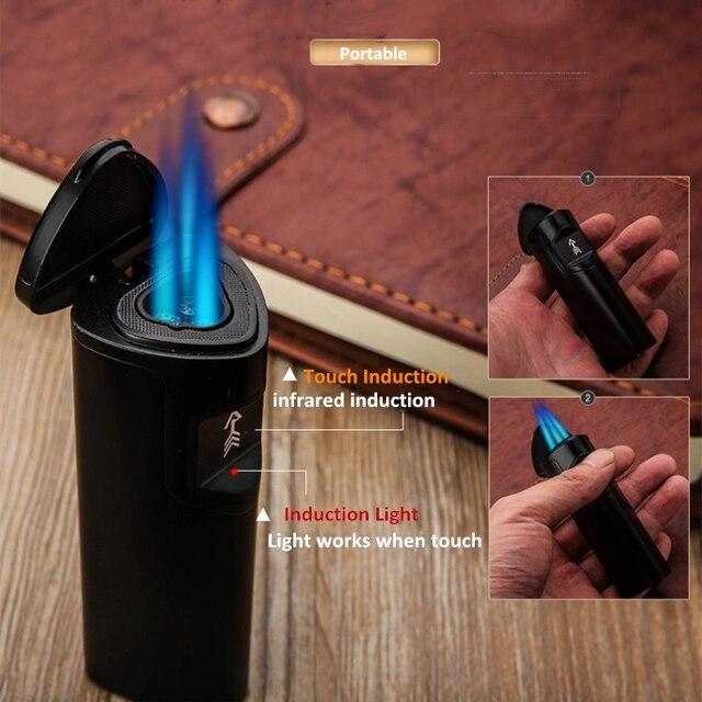 اللمس التعريفي ولاعة السجائر قوية 3 لهب مستقيم أخف الأشعة تحت الحمراء التعريفي غاز البوتان أخف إعادة الملء السيجار Gunjet
