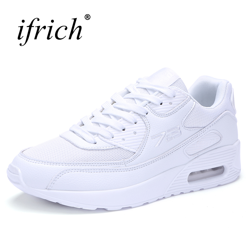 2018 Mens Sports Shoes Air Cushion Breathable Running Trainers Mens Walking Shoes White Spring Summer Sneakers summer breathable air cushion fly line sports women running shoes shock absorption increase tourism shoes spring female sneakers