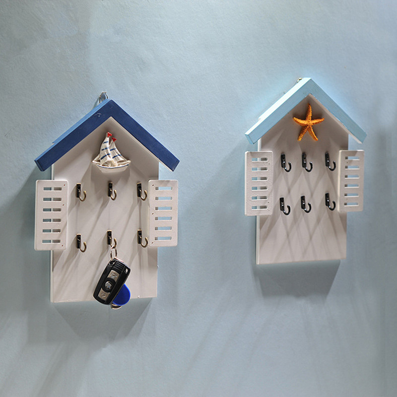 Housing form Wood Key Box hang Mediterranean series creative household Storage Boxes Wall Hanging Home Decoration