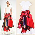 European and American women's spring and summer 2015 runway shows new spell color printing temperament dress big swing dress