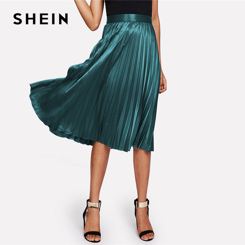 SHEIN Zip Closure Pleated Satin Skirt Green Mid Waist Women Clothing Plain Party Skirt 2018 Spring Casual Full Length Skirt 1