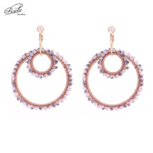 Badu Round Crochet Hoop Earring Crystal Beaded Handmade Jewelry Women Vintage Statement Earrings Golden Wholesale