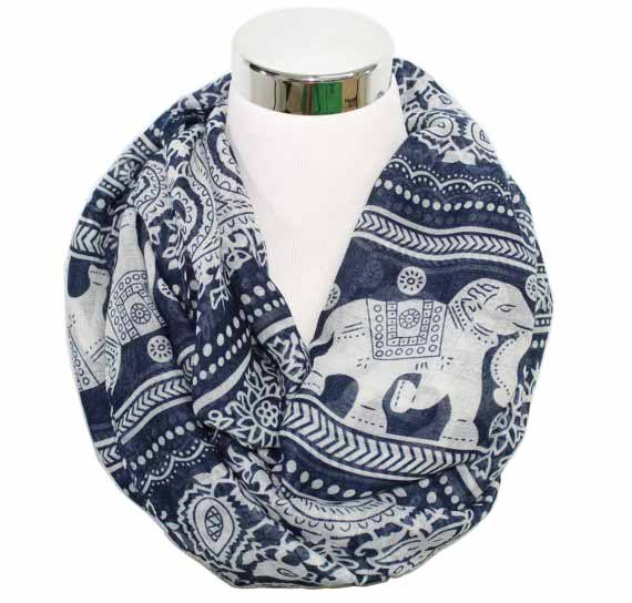 4c3295eb002 US $4.49 25% OFF Free Shipping 2018 New Fashion Winter Women Wine Red Navy  Vintage Animals Print Elephant Infinity Scarf Snood-in Women's Scarves from  ...