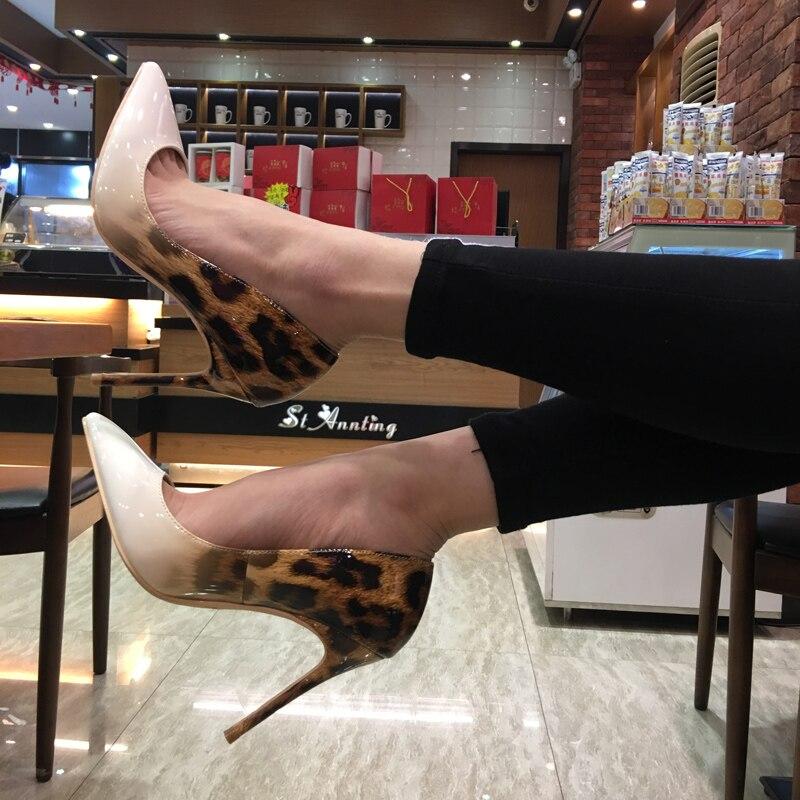 Beige Pompe Léopard De Talon Sexy Classique Pointe Élégant Cm Talons Stiletto Femelle Femmes Mode noir 10 Haute In1SqYxZ
