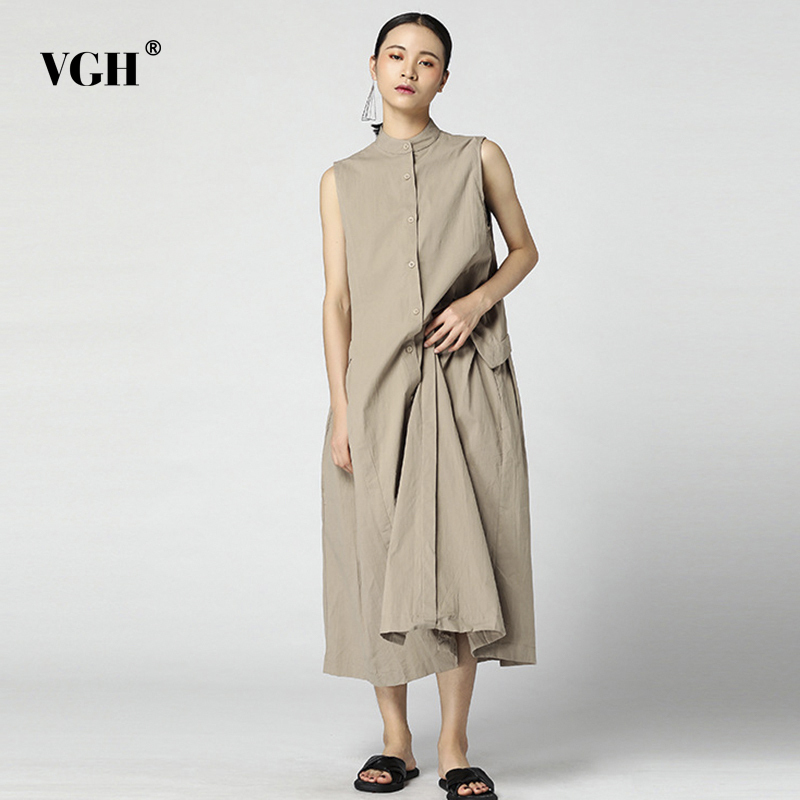 VGH Summer Dress For Women Stand Neck Sleeveless Hem Ruched Loose Big Size Cotton And Linen Women's Dresses Korean Fashion New