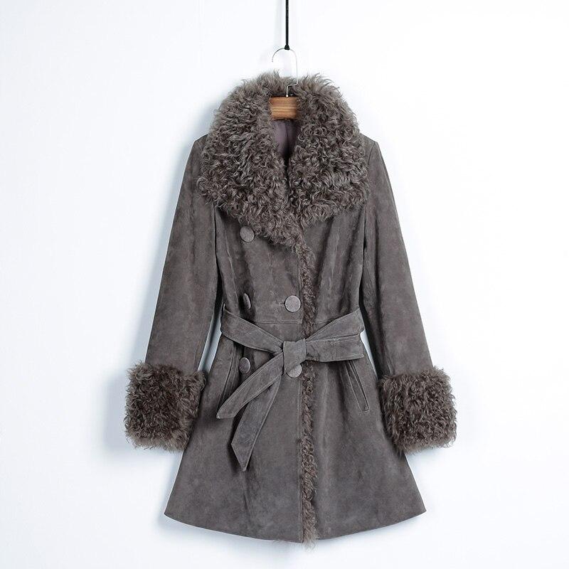 HUYOU 2018 Women's Wool Lapel Genuine Leather Fur Coat Natural Fur Jacket Full Pelt Casual Style Real Fur Dress HY1805