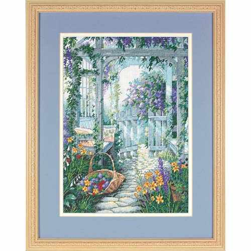 Amishop Gold Collection Counted Cross Stitch Kit Garden Gate Door Yard Flowers dim 13692