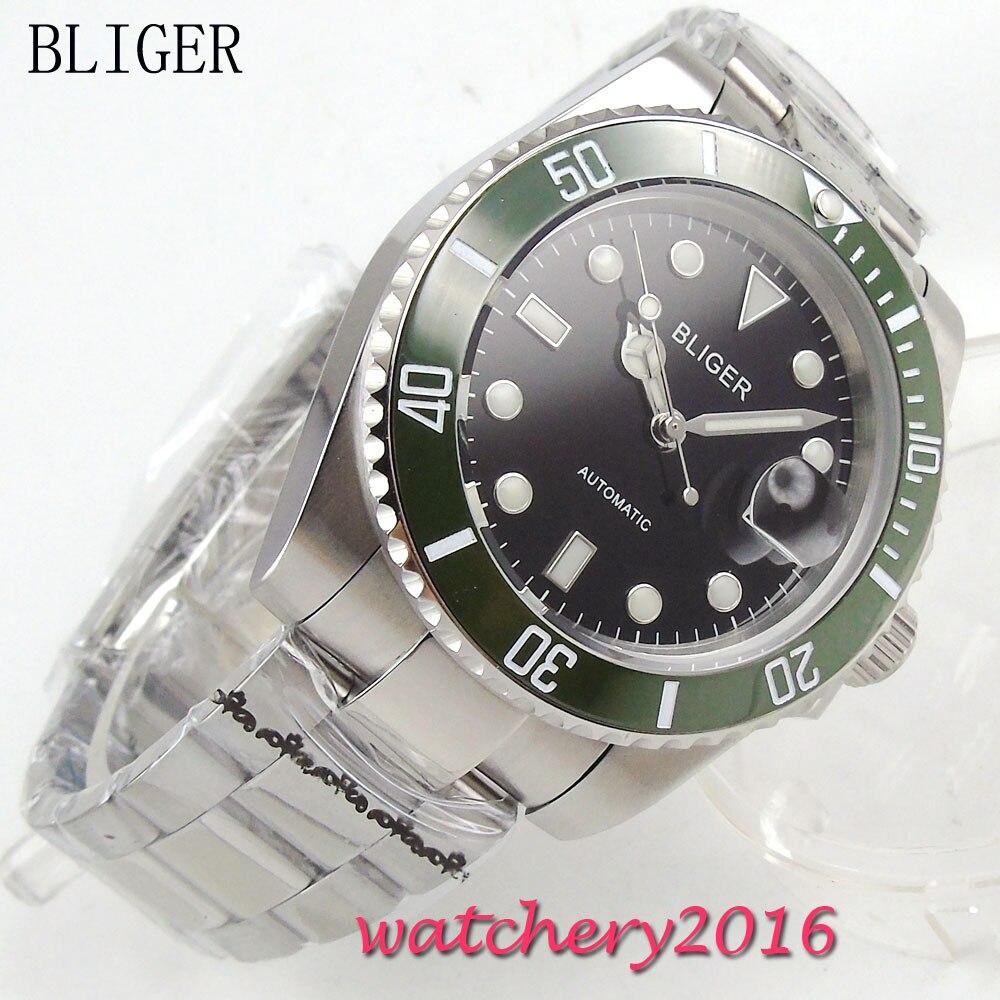 лучшая цена Newest 40mm Bliger black Dial Complete Calendar SS band Luminous Hand Auto Watch Sapphire Glass Automatic Mechanical Mens Watch
