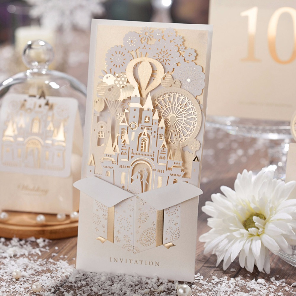 30PCS Laser Cut Wedding Invitations Kits Customizable Castle Gold