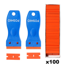FOSHIO 2pcs Carbon Fiber Film Clean Razor Scraper+100PCS 1.5 Double Edge Blade Auto Window Tint Car Stickers Glue Remover
