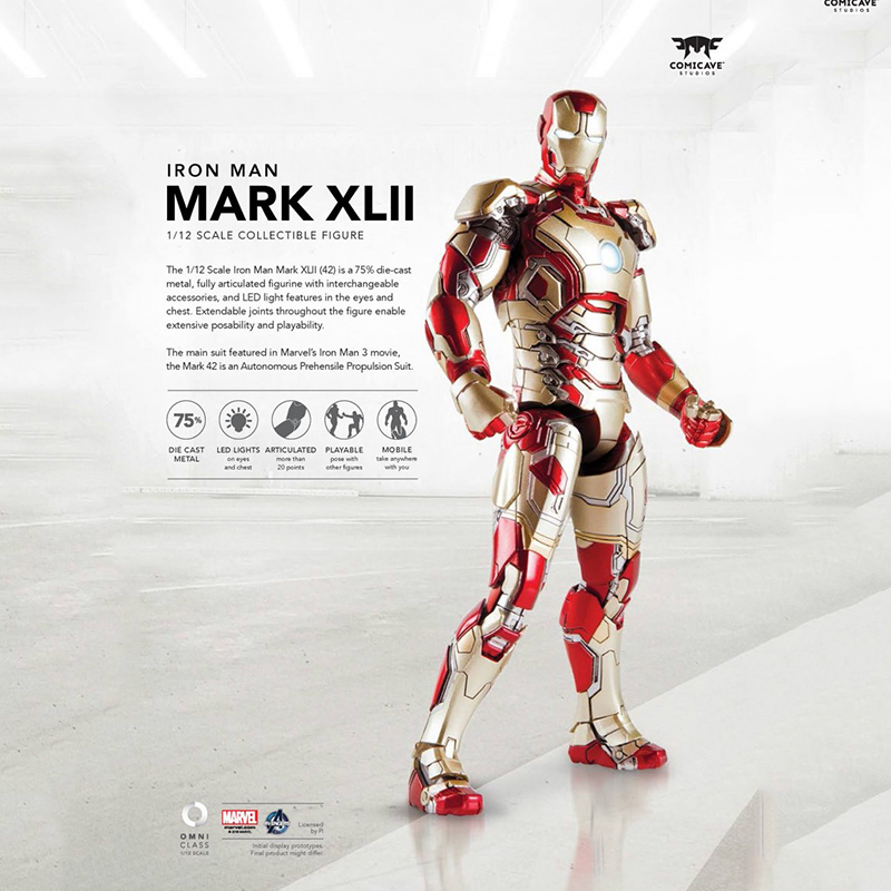 1/12 Scale Iron Man Full Set Action Figures MK42 Collections Displays Boys Toys Brinquedos LED patrulla canina with shield brinquedos 6pcs set 6cm patrulha canina patrol puppy dog pvc action figures juguetes kids hot toys