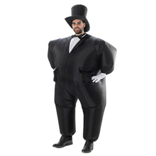 Inflatable Black Suit Chub Fancy Dress Fun Toy Halloween Carnival Costumes for Adult