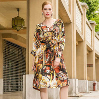 Sexy Deep V neck Women 100% Silk Dress Mid Long 2018 Summer Designer Bohemian Cartoon Printed Sash Three Quarter Sleeve Vestido