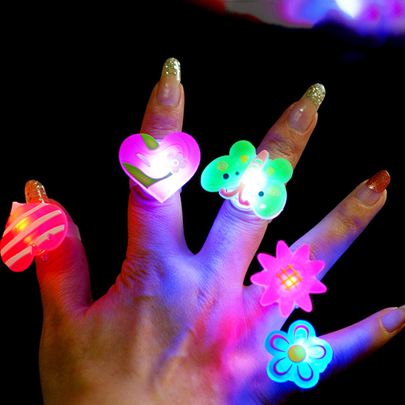 5pcs Luminous rings glow in the dark new children's toys flash gifts LED cartoon lights toys for childs kids playing in night