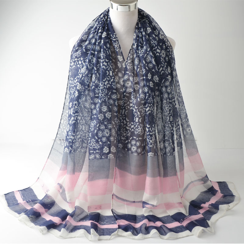 78f6696cae84 Za 2016, Fleur impression écharpe, hijab Musulman, imprimé à rayures écharpe,  viscose hijab, châles et foulards, muffler musulman, head wrap, wrap châle