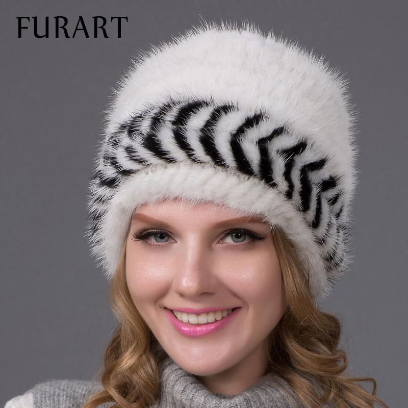 Mink fur hat for women winter knitted Skullies & Beanies with real mink fur pom poms new fashion top selling good caps BZ-12 mink skullies beanies hats knitted hat women 5pcs lot 2299
