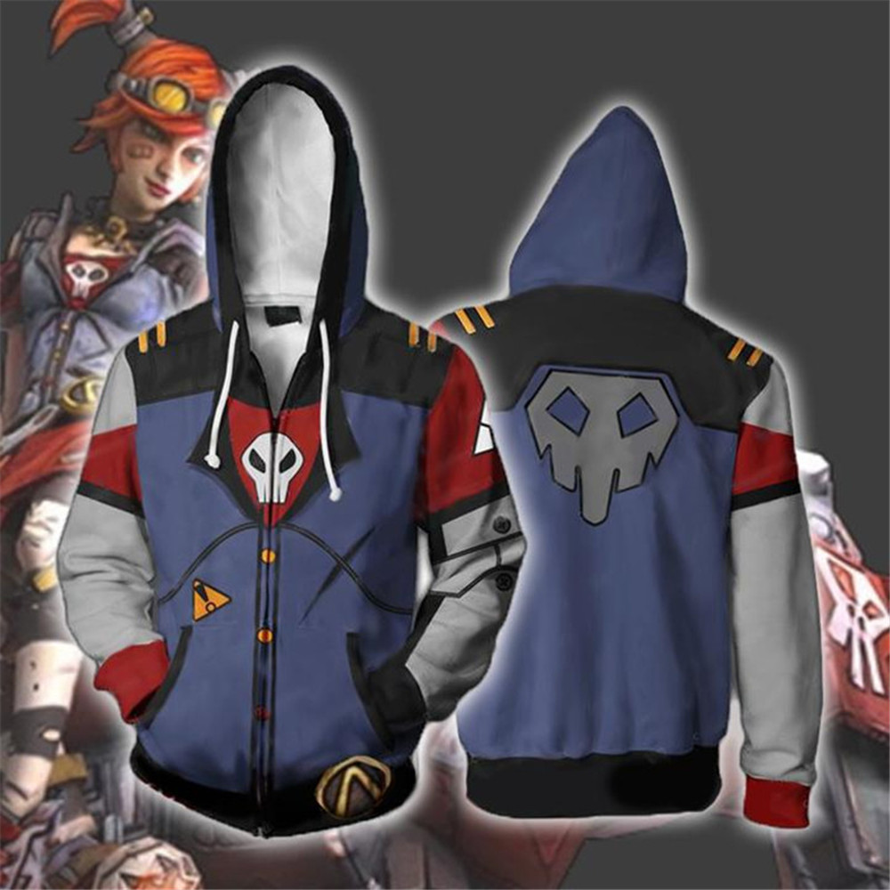 Game <font><b>Borderlands</b></font> 2 Hoodie Sweatshirts Long Sleeve Zipper Men Hoodie Cosplay Sweatshirt Jacket image