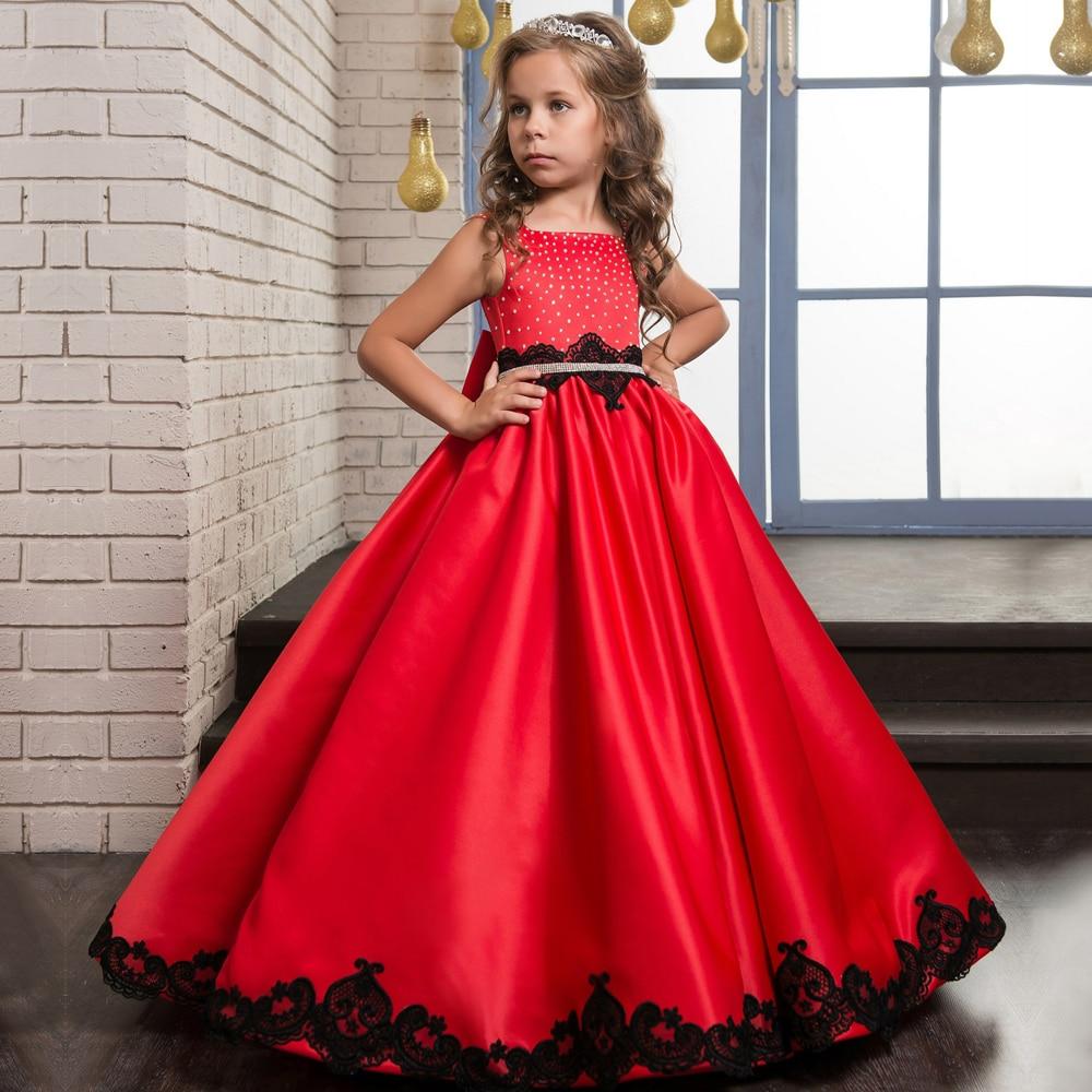 Fantaisie enfants Pageant robes Glitz sans manches rouge Satin noir dentelle Appliques perles réservoir longue Communion robes avec ceinture arc