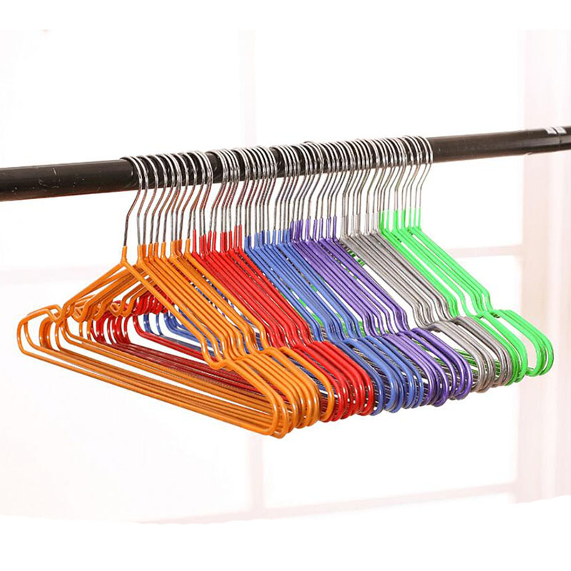 Colorful High Quality Thick PVC Coated Metal Clothes Hanger Space Saving Non Slip Shirts Dress Coats