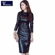 2019 Pu レザードレスの女性は襟長袖セクシーなドレスジッパー冬黒ボディコンドレス春 Vangull