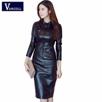 Vangull 2019 Fashion PU Leather Dress Women Stand Collar Long Sleeve Sexy Dress Zipper Winter Black Bodycon Dress Spring Vestido