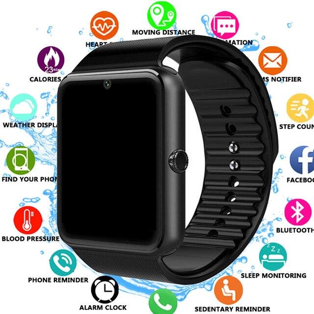 Relógio inteligente gt08 relógio de sincronização notifier apoio sim tf cartão conectividade bluetooth telefone android smartwatch liga