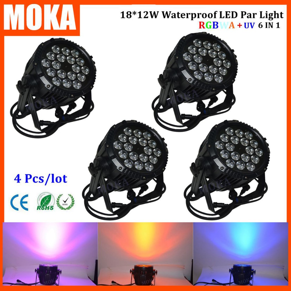 4pcs/lot DMX 6In1 led par lights strobe par light 18X12w awesome effect for wedding disco dj ktv Theatre ceremony dij projector
